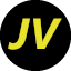 A black circle with the letters J and V in yellow.